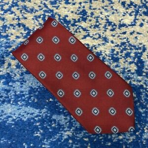 Brooks Brothers Burgundy Blue Silver Geometric Italian Silk Necktie USA