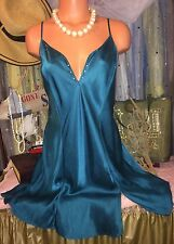 Vintage Victoria Secret 100% Silk Bling Teal Chemise Plunge Slip Gown Dress L