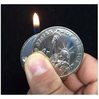 Refillable Novelty Butane Cigarette Lighter - Funny Unique Coin Money Quarter