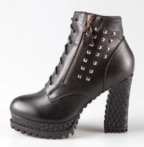 Women 100% Real Black Leather Block High Heel Side Zipped Ankle Boots Studs Zips