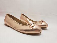 Sole Diva Rose Gold 6 E Wide Fit Ballerina Flat Shoes