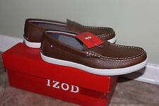 Izod Men's Casual Slip On Leather Roswell/Cognac Shoes White/Sole Sz 10.5 $90.00