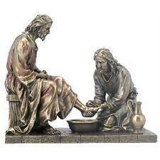 """JESUS WASHING DISCIPLE'S FEET Cold-Cast Bronze Statuette, 8.5"""", Unicorn Studio"""