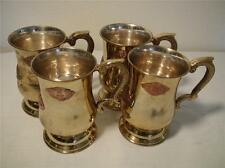 SAUDI ARABIA COAT OF ARMS 4 MUGS STIENS LACQUERED SPUN BRASS & SILVER ALLOY 5""