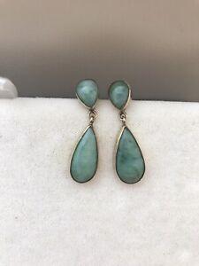 Jade 9ct Gold Drop Earrings Full Birmingham Hallmark