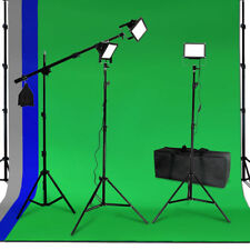 LED Photo Video Studio Lighting Kit Light Boom Chromarkey Photography Background