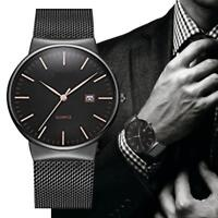Business Men's Fashion Date Classic Quartz Analog Stainless Steel Wrist Watches