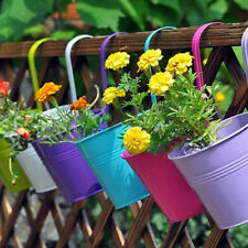 5Pcs Garden Metal Flower Pots Hanging Pot Basket Bucket Plant Flower Planter