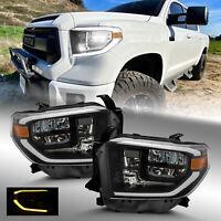 For 2014-2018 Toyota Tundra LED Strip Black TRD Tube Truck Headlights Set