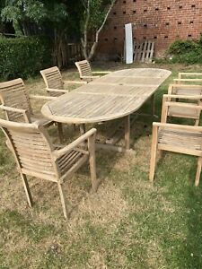 Large Teak Wooden Garden Extendable Table Stunning Quality Outdoor Patio 7 Chair