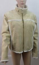 Womans River Island Real Leather Jacket Coat With Faux Fleece - Size 16