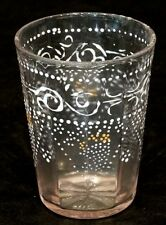 1800's ANTIQUE Victorian ENAMELED GLASS Clear Panel ENAMEL PAINTED TUMBLER