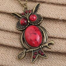 Long Necklace Uk Seller Retro Vintage Red Owl Pendant