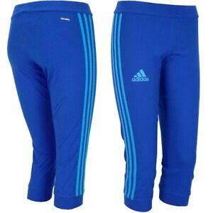Adidas 3/4 Tight Women's Sports Leggings Capri Running Training Shorts Blue S