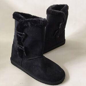 Lilley Boots Black Faux Suede Fur Lined Ankle Booties Comfort Cosy & Warm UK 5