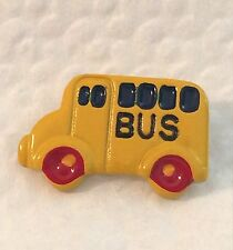 VINTAGE Hand Painted Aluminum Yellow School Bus Button JHB