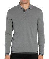 Ted Baker London Men's Long Sleeve Longfiz Striped Ribstart Polo Shirt Charcoal