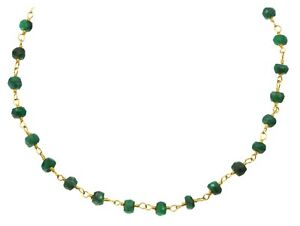 Emerald Necklace Faceted Beaded Chain Dainty 18 19 Inch Sterling 14k Gold GF
