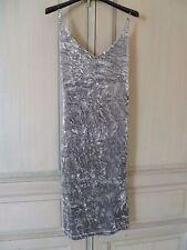 Robe De Soirée / Habillée Gris Velours Avec Bretelles Perles Taille 36 Neuve