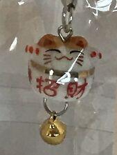 ❤️Maneki Neko Lucky Cat 😺 Pendant Cell Phone Charm Strap with Bell ~ Japanese❤️