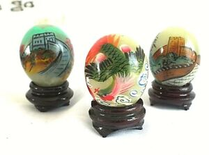 3 CHINESE JADE DECORATIVE EGG ORNAMENT HAND PAINTED GREAT WALL PHOENIX W STAND
