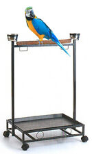 Large Parrot Bird Play Wood Perch Play Gym Play Ground Rolling Stand Steel Bowls