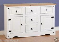 White Solid Pine Top 2 Door 5 Drawer Sideboard W132cm X D44.5cm X H84cm CORNET