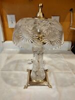 """Vintage Underwriter Laboratories Lamp Glass Crystal Brass Base 16"""" Tall Parlor"""