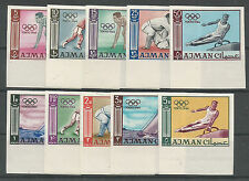 1954 AJMAN TOKYO OLYMPICS IMPERFORATED  COMPLETE SET OF 10  SPORTS MNH**