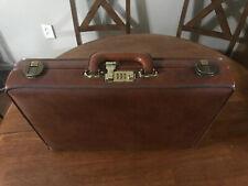Vintage Brown Leather Presto Airway Pilot Briefcase Attaché File Case Combo Lock