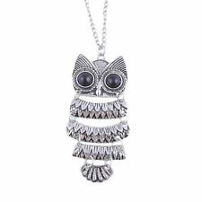 Vintage Style Owl Silver Pendant Necklace