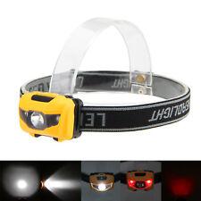 600Lm 3xR4+2 Red LED 4-Modo Luz Cabeza Headlight AAA Linterna Frontal Pesca Caza