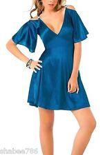 New 4055 Blue Metallic Ball Club Rave Cocktail Bridal Formal Mini DRESS M Medium