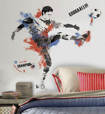 MEN'S SOCCER CHAMPION PLAYER with ball sports wall stickers MURAL 22 decals 38""