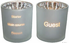 Pair Glass Silver Menu Guest Timer Dining Table Candle Tea Light Holders Set Two