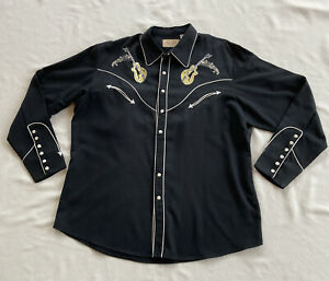 Scully Embroidered Guitar & Cadillac Western Shirt mens XL