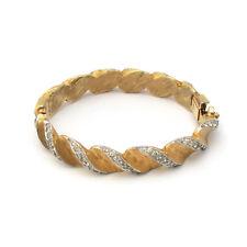 Jomaz Gold Tone Clear Rhinestone Hinged Bangle Bracelet Vintage Mazer Bros.