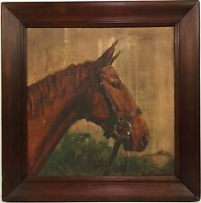 Antique 1931 OIL PAINTING of a HORSE signed STRONG
