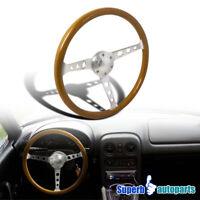 "370mm 14.75"" Aluminum Spokes 2"" Deep Wooden Vintage Style Steering Wheel"
