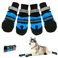 4PCS Big Dog Shoes Boots Anti-slip Waterproof Reflective Rain Snow Booties Socks
