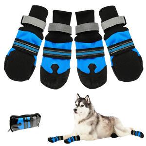 4PCS Big Dog Shoes Boots Anti-slip Waterproof Reflective Rain Snow Booties Socks