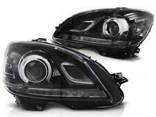 Daytime Running Light Headlights Set FOR Mercedes W204 07-10 Clear Black color