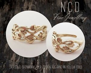NC Designs NEW 9kt solid openwork tulip design toe-ring in yellow gold