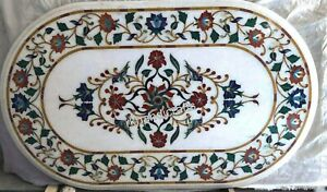Multi Gemstones Inlaid Center Table Top Oval Marble Coffee Table 18 x 36 Inches