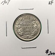 Canada 1907 Twenty Five Cent 25 Cents Silver Quarter EF