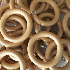24 Pack, Extra Strong Wood Wooden Unbreakable Curtain Rings to fit 28mm Poles