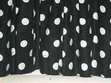 Large White Polka Dots on BLACK  Handmade Cotton Window Curtain Valance