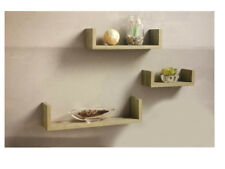 Set of 3 Oak Clean Contemporary Floating U Shape Shelves Storage CD Books
