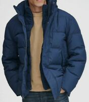 $495 Andrew Marc Men Blue Quilted Hooded Down Puffer Full-Zip Coat Jacket Size S
