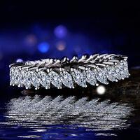 ElegantWomen Marquise Cut White Sapphire 925 Silver Wedding Ring Size 6-10 uh